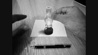 نقاشی سه بعدی چراغ گرد سوز