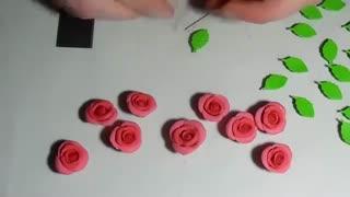 گل رز با خمیر پلیمر