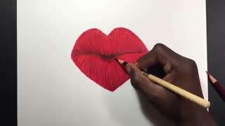 آموزش نقاشی با مداد بسیار روان وزیبا (طرح لب)