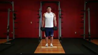 نمایش فیلم آموزش حرکات بدنسازی ساق پا ایستاده با دمبل