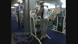 نمایش فیلم آموزش حرکات بدنسازی عضله ساق پا ایستاده با دستگاه