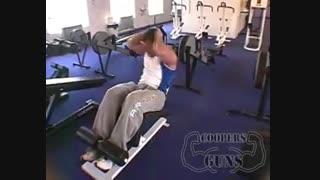 نمایش فیلم آموزش حرکات بدنسازی پهلو دراز نشست با نیمکت (به چپ و راست)