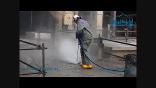 عملیات تخریب بتن با استفاده از دستگاه آب فشارقوی