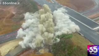 لحظه تخریب پل با استفاده از 240 کیلوگرم مواد منفجره
