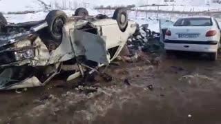 ویدئو تصادف پژو و پیکان در محور مریوان- سقز یک کشته بر جا گذاشت
