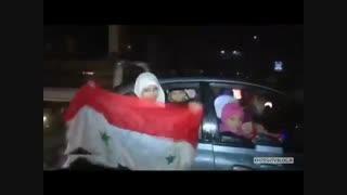 جشن و پایکوبی مردم حلب بعد از آزاد شدن شهر