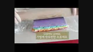 آموزش رل کیک رنگین کمونی