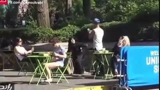 (دوربین مخفی)واکنش جالب مردم به کشیدن روسری از سر زن محجبه!!