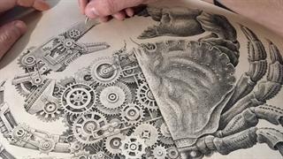تایم لپس یک نقاشی ظریفانه صنعتی