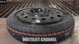 برش رینگ و لاستیک ماشین بوسیله آب !